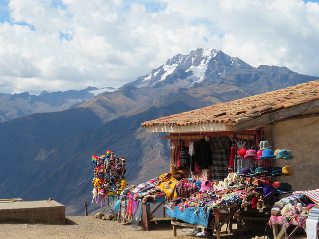 Roadside shop with Andes mountains in the background